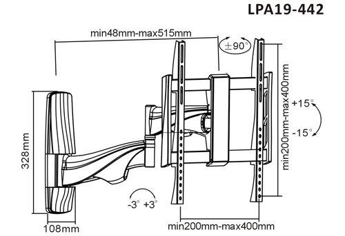 Rozměry držáku Fiber Novelty FN19-442