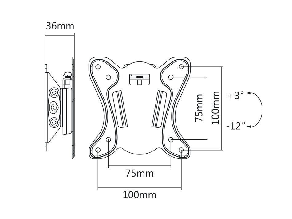 """Fiber Mounts M7C15 je levný ale kvalitní držák pro zavěšení monitoru nebo menší televize 13-27"""" a možnost naklápění, VESA standard 75x75 a 100x100, vzdálenost od zdi 36mm, nosnost 25kg"""