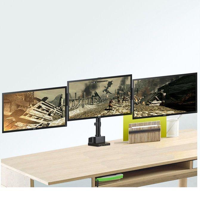Profesionální stolní držák na 3 monitory, který je plně polohovatelný, snadné nastavení monitoru do libovolné pozice, krásný dizajn, TOP kvalita - Fiber Mounts M8C11