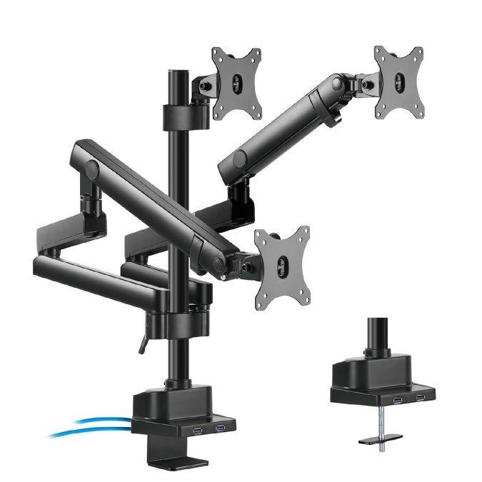 Profesionální stolní držák na 3 monitory 17-27 palců Fiber Mounts M8C11