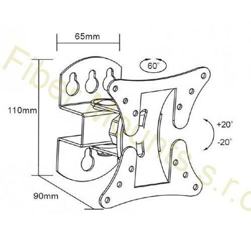 """Nástěnný držák na monitor nebo menší televizi 13-30"""", mírné otáčení do stran, naklápění, VESA 75x75 a 100x100, nosnost 30kg - Fiber Novelty FN501"""