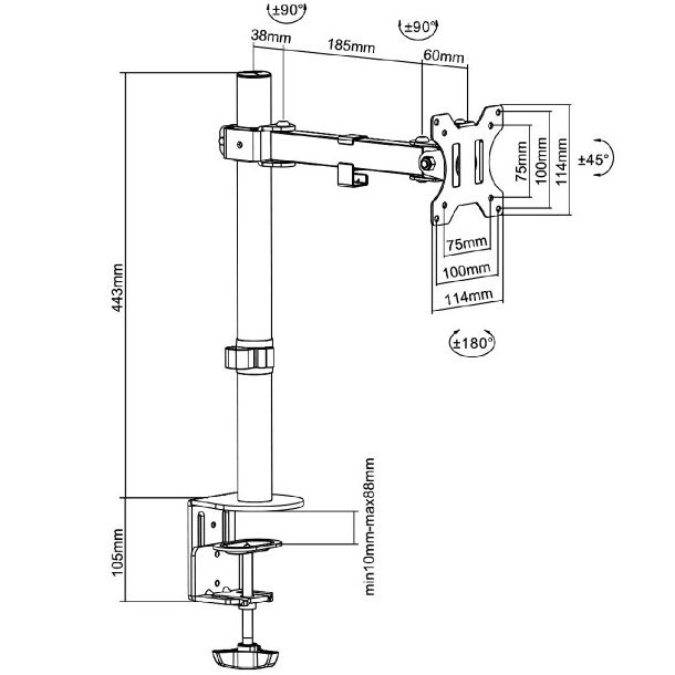 Fiber Mounts M7C52 je levný ale kvalitní polohovatelný stolový držák na monitor