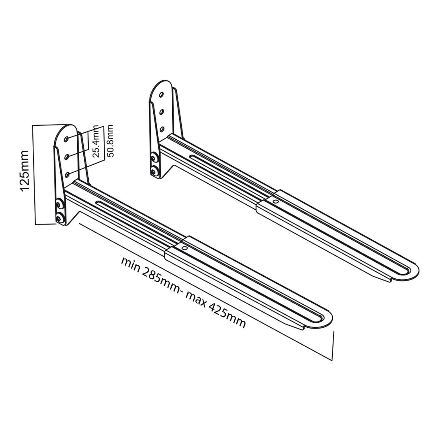 Nástěnný držák / délkově nastavitelná ramena na uchycení mikrovlnky nebo tiskárny Fiber Mounts M7C76