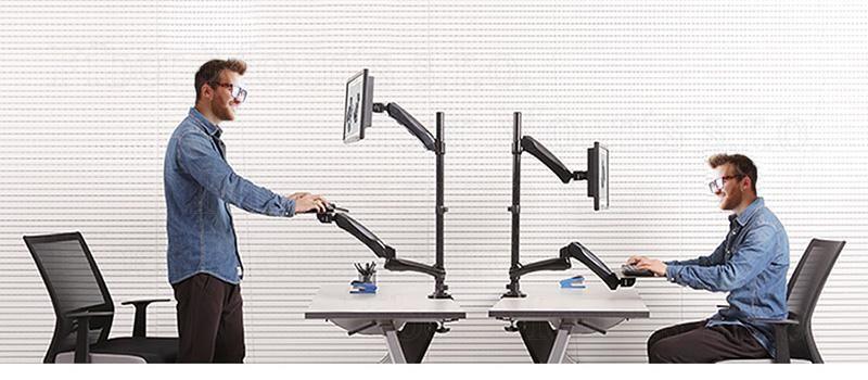 Držák monitoru a klávesnice, polohovatelný, pro práci vsedě nebo vestoje Fiber Mounts M68C1