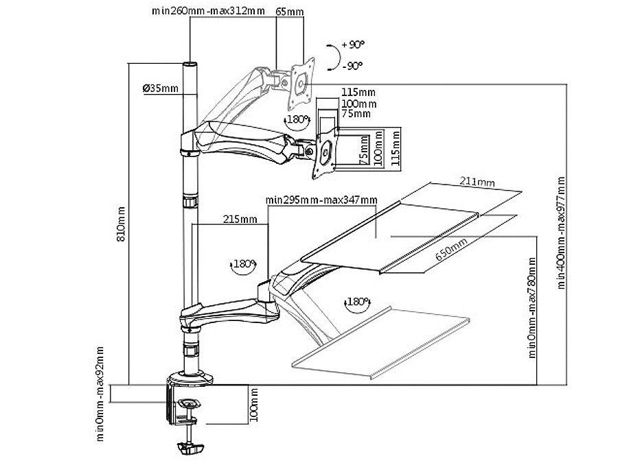 Fiber Mounts M68C1 je univerzální držák monitoru i klávesnice s polohováním výšky monitoru i klávesnice, otáčení do stran naklápění, rotace monitoru, vhodný pro rychlou a snadnou změnu práce vsedě na práci vestoje