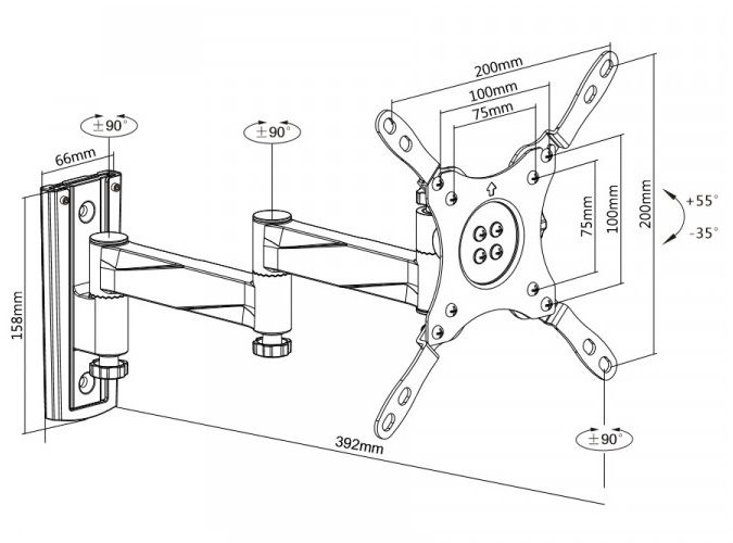 Držák pro instalaci Tv monitoru do lodí karavanů kajut Fiber Mounts M6C75