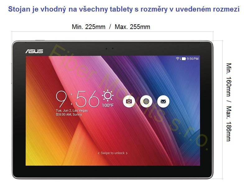 Rozměry tabletů iPadů, které jsou vhodné pro stolní držák Fiber Mounts M6C44