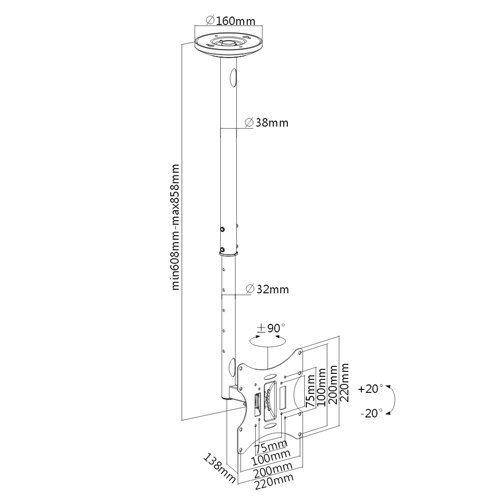 Fiber Mounts BAT01 je kvalitní stropní držák na televize a monitory 22-50 palců, otočný, sklopný, délkově nastavitelný