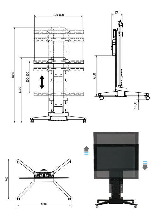 Elektrický pojízdný TV stojan Mounts Mobi-Lift