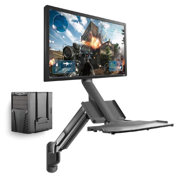 Pracovní stanice složená z polohovatelného držáku na monitor s policí na klávesnici a myš a nezávislého držáku na PC skříň Fiber Mounts M8C38