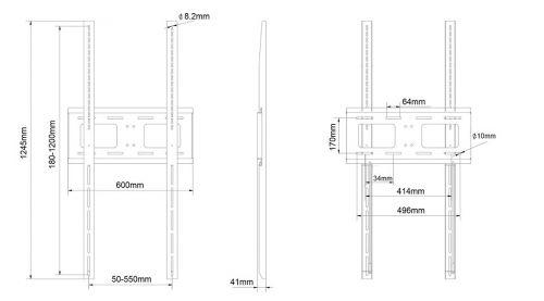 Vertikální držák pro velké obrazovky EDBAK XWB3