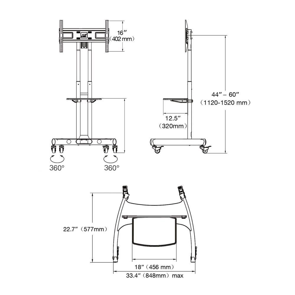 Parametry pojízdného stojanu AVA1500