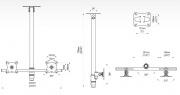 SV33 - Stropní držák vhodný pro zavěšení dvou TV nebo monitorů EDBAK