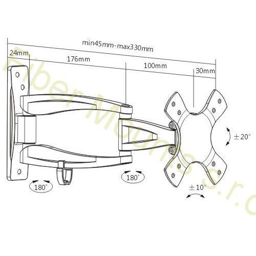 Rozměry kloubového držáku na monitor MC533