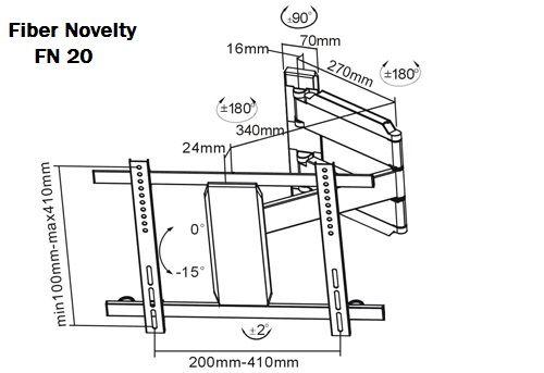 Rozměry kloubového otočného držáku Fiber Novelty FN20