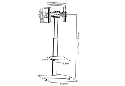 Rozměry televizního stojanu Fiber Novelty FN01