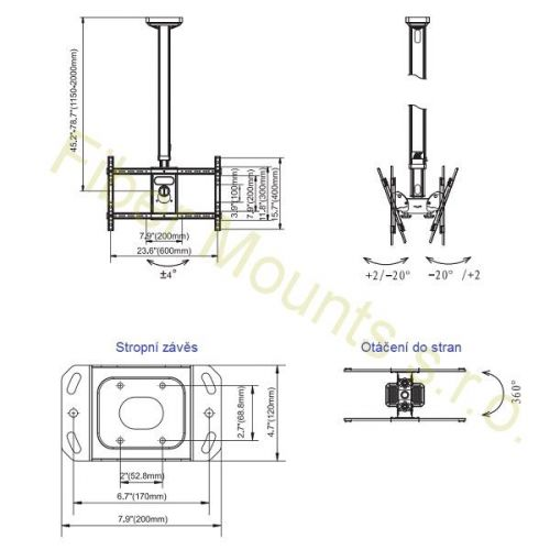 Rozměry stropního držáku NB T5520