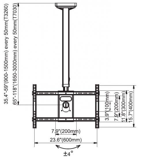 Rozměry stropního držáku NB T3260