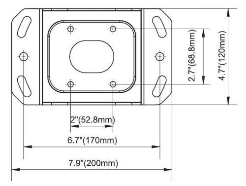Rozměry horního úchytu na strop u držáku NB T3260