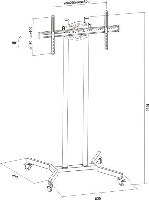 Televizní stojan Fiber Novelty FN1017 - rozměry