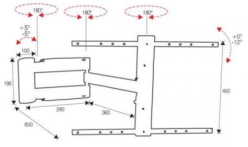 Rozměry kloubového držáku OMB LED3