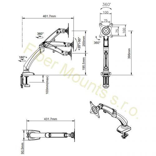 Rozměry stolního držáku F100