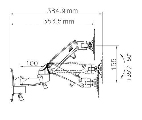 Rozměry držáku Fiber Mounts F150