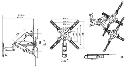 Rozměry výškově stavitelného držáku F500