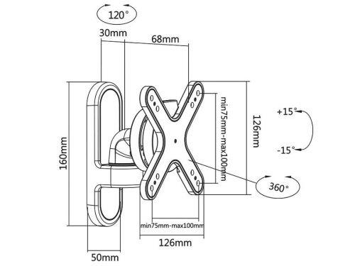 Rozměry kloubového otočného držáku MC574