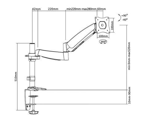 Rozměry držáku MC568