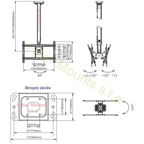 Rozměry stropního držáku NB T6030