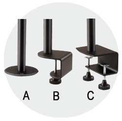 Volitelné typy uchycení na stolovou desku