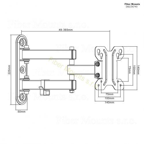 Rozměry kloubového držáku Fiber Mounts DELTA740