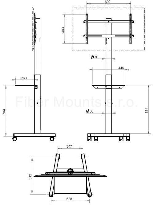 Pojízdný televizní stojan OMB Professional Spring
