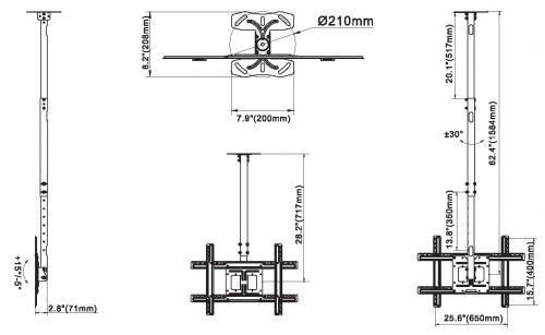 Stropní televizní držák s nastavitelnou délkou od stropu