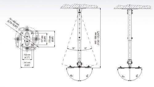 EDBAK PM2 - stropní držák na projektor
