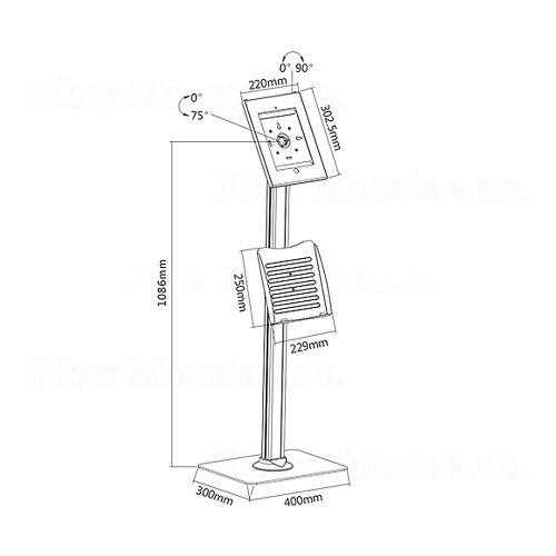 Stojánek na tablet s přihrádkou na prospekty, katalog atd.