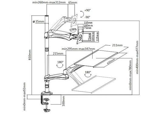 Stolní držák monitoru a klávesnice MC681