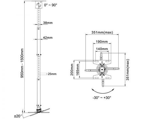 Stropní držák na projektor s nastavitelnou délkou od stropu