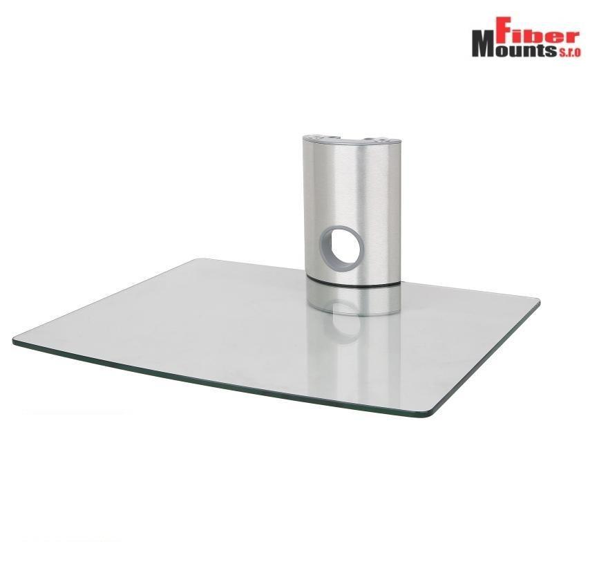 Ardea 1C - Stříbrná skleněná police s čirým sklem na AV zařízení ErgoSolid