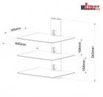 Ardea 3C - Trojpolice vhodná pod televizor pro DVD, Set-top box, audio zařízení, stříbrná ErgoSolid