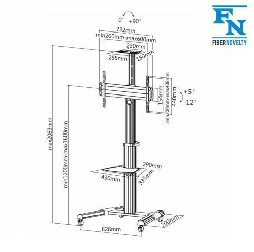 Technické parametry mobilního stojanu Fiber Novelty FN7000