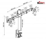 """NF12 - Kvalitní stolní držák na dva monitory LCD, LED 10"""" - 30"""", funkce PIVOT, nosnost 20 kg ErgoSolid"""