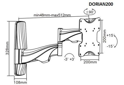 Parametry televizního držáku Dorian200