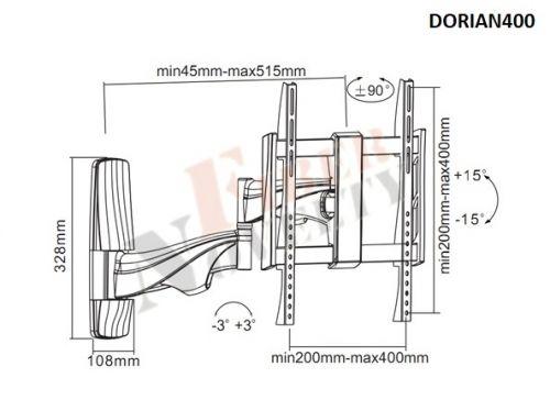 Parametry držáku Fiber Novelty Dorian400