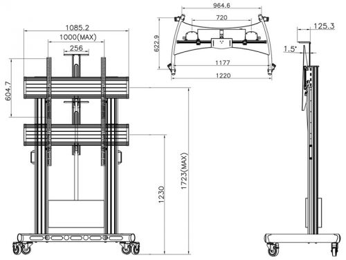 Parametry televizního stojanu Fiber Mounts TW100