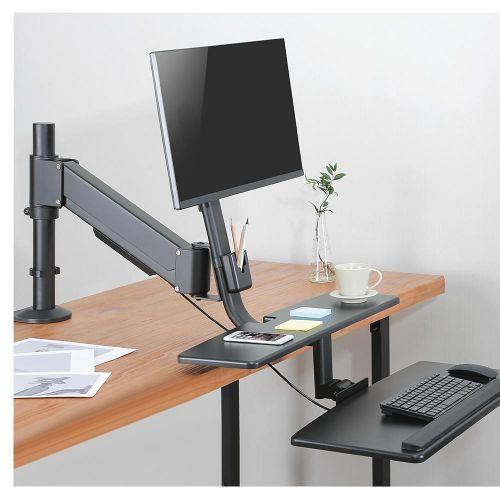 Polohovatelný stolní držák na dva monitory + police na klávesnici