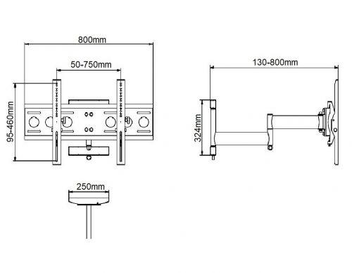 Parametry kloubového otočného držáku EDBAK USWM652