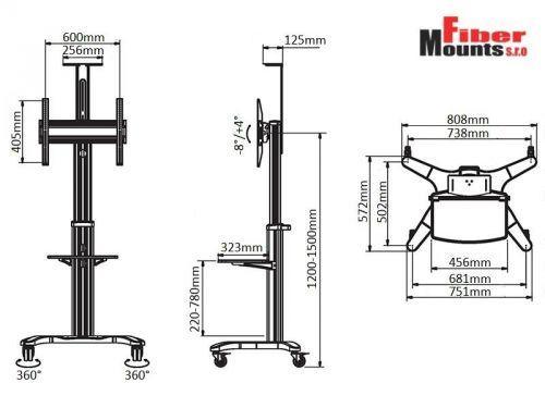 Parametry pojízdného stojanu AVF1500W