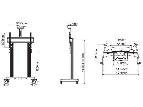 Parametry prezentačního stojanu AVG1800-100-1P